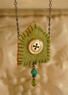 happy house felt necklace with beads embroidery by bigbrownhouse