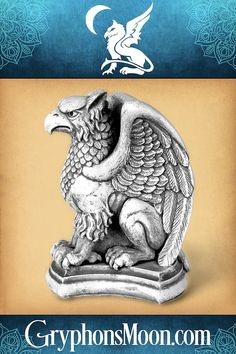 """Vigilant Gryphon Statue - Your home is your castle, and what castle would be complete without a statue of the local guardian? This magnificent gryphon looks like it came straight from an age of myths and legends. Traditionally, the gryphon is a symbol of strength and steadfast purpose. The Vigilant Gryphon Statue stands 6 1/2"""" tall. It is made of hydrocal, with an antique stone finish. This statue is meant for indoor use only. #Gryphon #Griffon #Griffin #Gargoyle #Statue Symbols Of Strength, Great Father's Day Gifts, It's Easy, Fathers Day Gifts, Legends, Purpose, Lion Sculpture, Castle, Things To Come"""