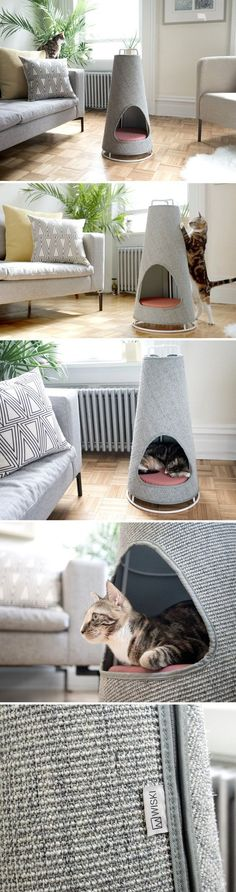No more shredded sofas. The Cone is the world's most beautiful scratching post and nap space for your cat! It works so well because it takes direct inspiration from nature. The large cats often have a habit of scratching the barks of trees, to mark their territories. The reason domestic cats prefer furniture is because like trees, they are large, sturdy, and don't topple over. The Cone was designed to resemble the tree's bark and stay upright and unmoved. #catsdiycave