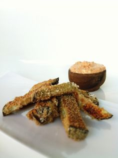 Clean, Skinny, Healthy Eggplant Fries with  Skinny Sweet-with-Heat Dip! Gluten-Free, Guilt-free DELISH!!!