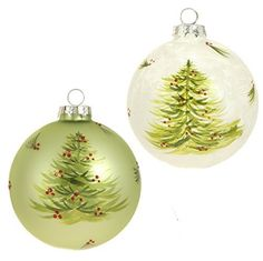 """RAZ Imports - Sageberry Theme - 4"""" Glittered & Frosted Decorated Christmas Tree & Berry Ball Ornaments - Set of 2"""