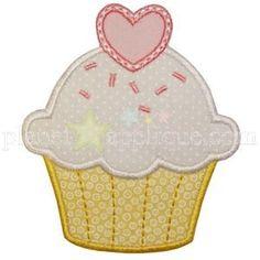 Valentine Cupcake Applique - Planet Applique Inc