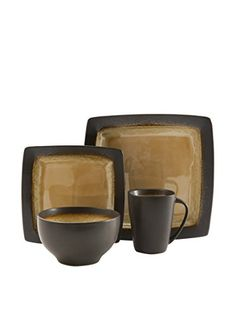 .myhabit.com The beauty of nature serves as inspiration for this casual set. Stoneware Dinnerware ...  sc 1 st  Pinterest & Gibson Elite Ocean Paradise 16-piece Square Dinnerware Set by Gibson ...