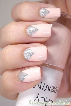 Pale Pink and Silver Nail Design. COLOR & DESIGN