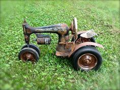 Repurposed Sewing Machine Tractor
