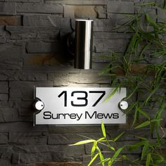 House Name Signs, House Number Plaque, House Numbers, Home Signs, Name Board Design, Name Plate Design, Name Design, Modern House Names, Modern House Design