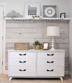 Decorating with whitewashed wood paneling, adds so much character