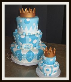 Prince Birthday Cake with Gold Crown Boys 1st Birthday Cake, 1st Birthday Cake Topper, Cookie Cake Birthday, Prince Birthday, Birthday Ideas, Little Boy Cakes, Baby Boy Cakes, Cakes For Boys, Baby Shower Cakes