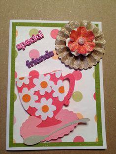 Handmade card using the Cricut and Sizzix Tim Holtz die cut.