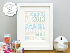 Personalised Baby Feet New Baby/Birth/Christening Print or Framed Print…