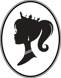 The silhouette cameo of a cute little girl. Barbie Birthday, Barbie Party, Stencils, Princess Silhouette, Barbie Princess, Princess Academy, Disney Princess, Vector Art, Disneyland