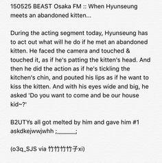 150525 BEAST Osaka FM :: When Hyunseung meets an abandoned kitten...