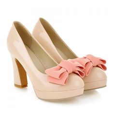 $37.89 Graceful Bow and Chunky Heel Design Women's Pumps