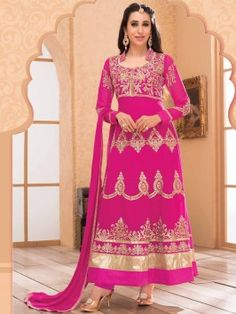Dark Pink Georgette Anarkali Suit With Zari Embroidery Work www.saree.com
