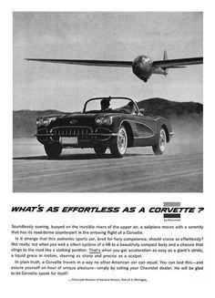 Classic #car advertisement for the effortless 1958 #Chevrolet #Corvette.