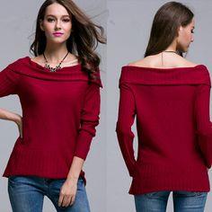 Red is the color of love💖Do you agree with me ? Nova Moda Outono & Inverno Mulheres Barra Neck Sólidos Clássicos Suéteres E Pulôveres de Tricô Sólida All-Jogo Camisola Das Mulheres