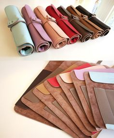 Gorgeous soft leather roll up cases perfect for makeup, pencils, bit & bobs...