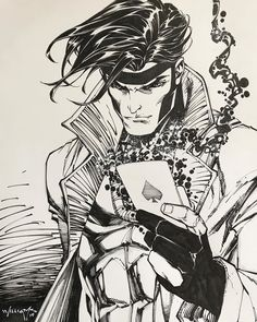 Gambit by Scott Williams * - Art Vault Marvel Dc, Gambit Marvel, Gambit X Men, Marvel Comic Universe, Marvel Comics Art, Marvel Heroes, Comic Book Characters, Comic Books Art, Comic Art