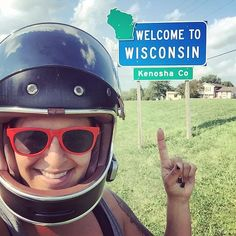 3 of 50  #statesign #wisconsin #travel #adventure #explore #america #bikelife #twowheels #livetoride #ridetolive #harleywomen #bikerbabe #womenwhoride #harleydavidson #freedom #milwaukeerally