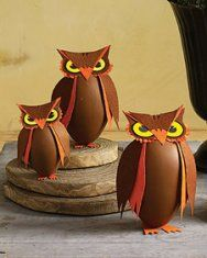 Owl Treat Boxes made from egg-shaped pressed-paper boxes.