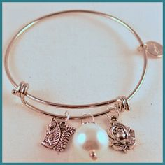$12,.99 bracelet Inspired by Alex & Ani Greek Mascot Charms by Arrimage, AGD, ALPHA GAMMA DELTA, SQUIRREL, pearl, rose, sorority