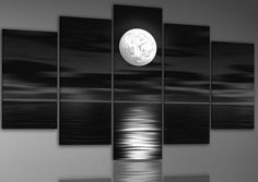 100% Hand-painted Free Shipping Wood Framed on the Back Oil Wall Art Sea Full Moon Night Home Decoration Abstract Landscap...
