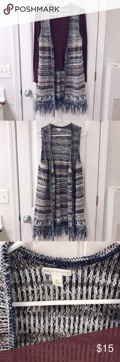 "Women's Long Fringe Cardigan from Cato Long knit cardigan from Cato. Length: 38""   90% acrylic  10% polyester   Easy to care for: machine wash cold with like colors. Gentle cycle. Cato Tops Blouses"
