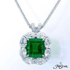 2474-005 - Emerald pendant featuring a beautiful 3.54 ct emerald-cut emerald encircled by pear-shape diamonds. Platinum by julia