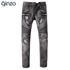 47.41$  Buy here - http://alilat.worldwells.pw/go.php?t=32690891255 - Men's casual patch holes ripped biker jeans Male black stretch denim pants Slim long trousers 47.41$