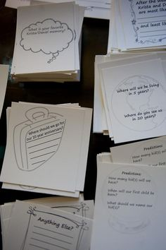 Guests fill out questionnaire cards about the bride and groom!