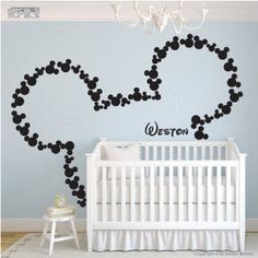 Amazon.com: Disney Mickey Mouse Head Mice Ears Personalized Baby Name Home House Art Decals Wall Sticker Vinyl Wall Decal Stickers Baby Livng Bed Room: Everything Else