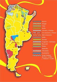 Mapa de los tribus indigenas de Argentina