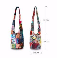 Thai Cotton Sling Bag Purse Crossbody Messenger Hippie Hobo Hand Woven Ikat (9)