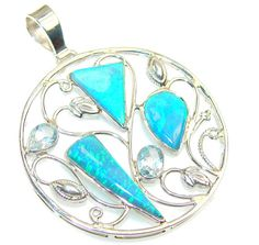 Items similar to Fire Opal, Blue Topaz Sterling Silver Pendant - weight - dim L 1 W 3 T 8 inch - code on Etsy October Birth Stone, Main Colors, Sterling Silver Pendants, Blue Topaz, Opal, Fashion Jewelry, Fire, Diamond, Unique Jewelry