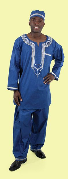 African Men's Luxury Pant Set - Complete African pants suit set with embroidered top, pants, and kufi hat.  Celebrate African culture and history with this bold African shirt and pants set.  Choose from a wide variety of colors including blue, yellow, red, purple, and green.  Perfect suit for celebrating Black History Month with friends and family.  #african #africa #blackhistorymonth #blackhistory #suits #stylish #stylishman #fashion #mensstyle #mensfashion