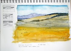 """Watercolor in Canson Montval All-Media sketchbook, 90-lb CP paper, page approx. 9"""" x 12"""", sketch 6"""" x 9"""" (15.2 x 22.8 cm). Sketched with Sanford uni-ball Micro pen.  Another sketch from a photo reference taken at Yellowstone Nat'l Park a few years ago.  I tried using a little of a lighter touch on this one, keeping things simple instead of lots of brushwork on the foreground.  Hayden Valley is in central Yellowstone; one usually encounters buffalo when driving through ..."""