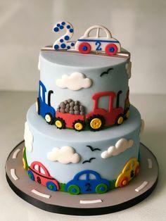 cake For Kids boys - Cupcakes Decorados Carros Ideas Toddler Birthday Cakes, Baby Boy Birthday Cake, 2nd Birthday, Cake Cookies, Cupcake Cakes, Dekorierte Cupcakes, Decorated Cupcakes, Bolo Blaze, Cars Cake Design