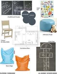 Fairfax Station, VA Online Design Project Playroom Furnishings Concept Board