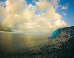 Surfer Magazine Wallpapers (this one's a beautiful rainbow over Teahupoo, Tahiti)
