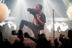 Travis Scott performs at Hakkasan Nightclub inside the MGM Grand Hotel & Casino as news is reported he is set to have a baby girl with girlfriend Kylie Jenner - Pics by Joe Janet courtesy of Hakkasan Nightclub / Atlantic Images