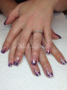 Cool purple glitter gel nails