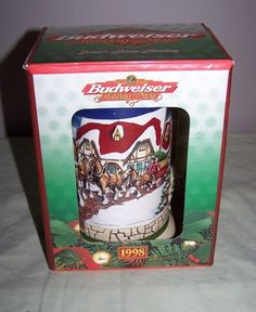 Budweiser Clydesdale, Holiday Beer Stein 1998, NEW IN BOX