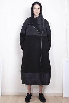 Купить Пальто Комбинированное, длинное из коллекции «Городская рапсодия » от Lesel (Лесель) российский дизайнер одежды