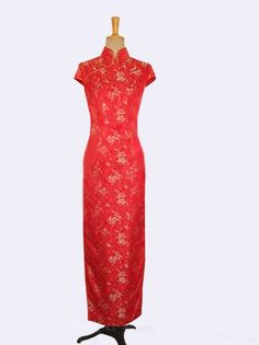 Red with golden dragon silk brocade cheongsam dress SCT223 - Custom-made Cheongsam,Chinese clothes, Qipao, Chinese Dresses, chinese clothing,EFU Tailor Shop