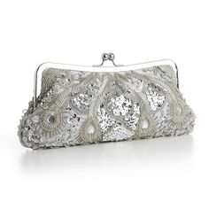 Mariell Beaded Silver Evening Bag - awesome purse for the Mother of the Bride or Groom!