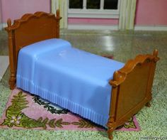 MINT! Reliable BLUE TWIN BED Vintage Dollhouse Furniture Renwal Ideal Miniature #Reliable