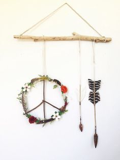 Wildflowers Feathers Peace Wreath Arrows' by FoundandFeathers