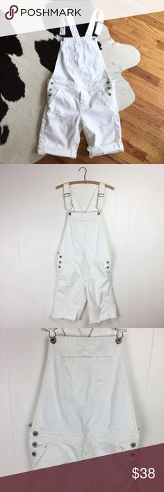 "Lucky Brand White Denim Destroyed Shortalls Shorts Lucky Brand white Denim destroyed short overalls, boyfriend shortalls. Purposely distressed with holes. 100% cotton. Size medium. Apx: 40"" long. 18 1/4"" waist flat. Lucky Brand Shorts"