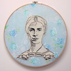 Embroidered art work: Author Emily Dickinson