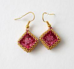 Rose swarovski Crochet Earrings, Swarovski, Rose, Diy, Jewelry, Fashion, Earrings, Moda, Pink